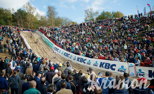 """U23 World Champion Wout Van Aert (BEL/Vastgoedservice-Golden Palace) leading the race into the infamous """"The Pit"""" with already thousands of fans present to support the riders<br /> <br /> GP Zonhoven 2014"""