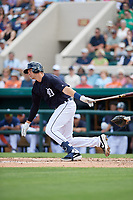 Detroit Tigers catcher Grayson Greiner (17) follows through on a swing during a Grapefruit League Spring Training game against the New York Yankees on February 27, 2019 at Publix Field at Joker Marchant Stadium in Lakeland, Florida.  Yankees defeated the Tigers 10-4 as the game was called after the sixth inning due to rain.  (Mike Janes/Four Seam Images)