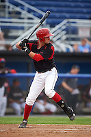 Batavia Muckdogs catcher Blake Anderson (26) at bat during a game against the Mahoning Valley Scrappers on June 22, 2015 at Dwyer Stadium in Batavia, New York.  Mahoning Valley defeated Batavia 15-11.  (Mike Janes/Four Seam Images)