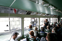 Turisti su un vaporetto lungo il Canal Grande, a Venezia.<br /> Tourists on a vaporetto cruising the Canal Grande in Venice.<br /> UPDATE IMAGES PRESS/Riccardo De Luca