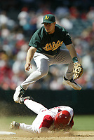 Mark Ellis of the Oakland Athletics during a 2003 season MLB game at Angel Stadium in Anaheim, California. (Larry Goren/Four Seam Images)