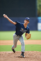 Pitcher Anthony Molina (20) of West Broward High School in Pembroke Pines, Florida playing for the Tampa Bay Rays scout team during the East Coast Pro Showcase on July 28, 2015 at George M. Steinbrenner Field in Tampa, Florida.  (Mike Janes/Four Seam Images)