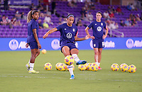 ORLANDO CITY, FL - FEBRUARY 18: Lynn Williams #6 of the United States warming up during a game between Canada and USWNT at Exploria Stadium on February 18, 2021 in Orlando City, Florida.