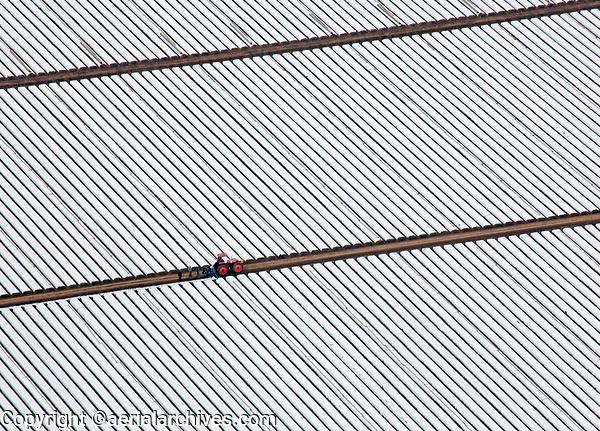 aerial photograph of greenhouses and farming in northern Santa Barbara County, California