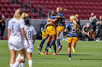 SANDY, UT - SEPTEMBER 26: Utah Royals FC celebrate goal during a game between OL Reign and Utah Royals FC at Rio Tinto Stadium on September 26, 2020 in Sandy, Utah.