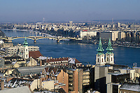 View of PEST looking across the DANUBE RIVER from BUDA - BUDAPEST, HUNGARY