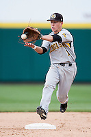 Tanner Dearman #1 of the Wichita State Shockers catches a ball tossed to second base during a game against the Missouri State Bears at Hammons Field on May 5, 2013 in Springfield, Missouri. (David Welker/Four Seam Images)