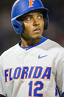 Florida Gators shortstop Richie Martin (12) during the NCAA College baseball World Series against the Virginia Cavaliers on June 15, 2015 at TD Ameritrade Park in Omaha, Nebraska. Virginia defeated Florida 1-0. (Andrew Woolley/Four Seam Images)