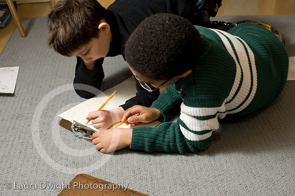 Elementary School New York Grade 2 two boys working together on project horizontal