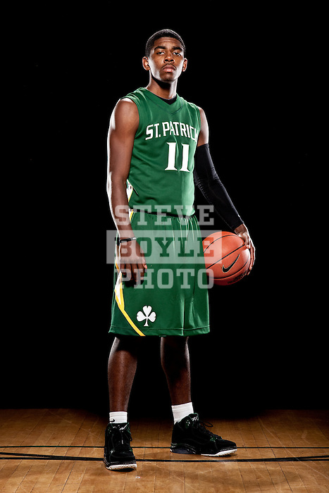 St. Patrick's boys basketball player senior Kyrie Irving (11) on November 3, 2009 at St. Patrick's High School in Elizabeth, New Jersey.  Irving will play for Duke in the fall of 2010.