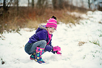 Jessica Adamson,7, playing in the fresh snow in the village of Coelbren in the Swansea Valley in South Wales.