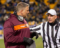 Virginia Tech head coach Justin Fuente argues with referee Jerry Magallanes. The Pitt Panthers defeated the Virginia Tech Hokies 52-22 on November 10, 2018 at Heinz Field in Pittsburgh, Pennsylvania.