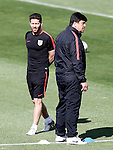 Atletico de Madrid's coach Diego Pablo Simeone (l) with his second German Mono Burgos during training session. April 26,2016.(ALTERPHOTOS/Acero)