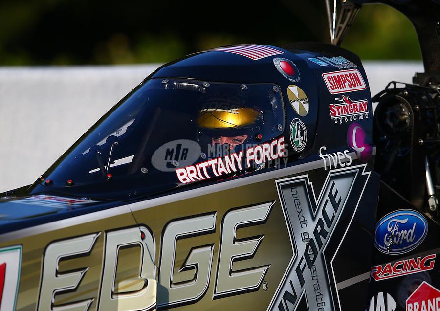 May 18, 2014; Commerce, GA, USA; NHRA top fuel driver Brittany Force during the Southern Nationals at Atlanta Dragway. Mandatory Credit: Mark J. Rebilas-USA TODAY Sports