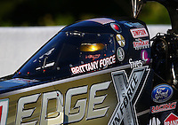 May 18, 2014; Commerce, GA, USA; NHRA top fuel driver Brittany Force during the Southern Nationals at Atlanta Dragway. Mandatory Credit: Mark J. Rebilas-USA TODAY Sports