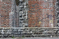 The Railway Station retaining wall in The Strand, Swansea, Wales, UK. Thursday 16 August 2018