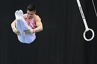 12th March 2020, Baku, Azerbaijan;  2020 Artistic World Cup Gymnastics Tournament;  Yunus Emre Gundogdun, TUR, during qualification on rings