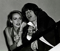 Jagger Hall6839.JPG<br /> New York, NY 1978 FILE PHOTO<br /> Mick Jagger, Jerry Hall<br /> Studio 54<br /> Digital photo by Adam Scull-PHOTOlink.net<br /> ONE TIME REPRODUCTION RIGHTS ONLY<br /> NO WEBSITE USE WITHOUT AGREEMENT<br /> 718-487-4334-OFFICE  718-374-3733-FAX