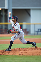Danville Braves starting pitcher Huascar Ynoa (54) delivers a pitch to the plate against the Burlington Royals at Burlington Athletic Stadium on August 15, 2017 in Burlington, North Carolina.  The Royals defeated the Braves 6-2.  (Brian Westerholt/Four Seam Images)