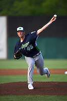 Vermont Lake Monsters starting pitcher A.J. Puk (45) delivers a warmup pitch during the first inning of his professional debut against the Auburn Doubledays on July 12, 2016 at Falcon Park in Auburn, New York.  Auburn defeated Vermont 3-1.  (Mike Janes/Four Seam Images)