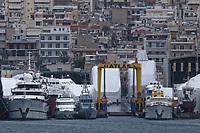 Border Control vessel HMC Valiant (3rd L) by a shipyard in the Perama area of Piraeus, Greece. Thursday 03 January 2019