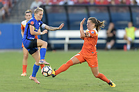 """Frisco, TX - Sunday September 03, 2017: Jess Fishlock and Andressa Cavalari Machry """"Andressinha"""" during a regular season National Women's Soccer League (NWSL) match between the Houston Dash and the Seattle Reign FC at Toyota Stadium in Frisco Texas. The match was moved to Toyota Stadium in Frisco Texas due to Hurricane Harvey hitting Houston Texas."""