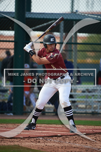 Mykanthony Valdez (8) of Mater Academy Charter High School in Miami Lakes, Florida during the Under Armour All-American Pre-Season Tournament presented by Baseball Factory on January 14, 2017 at Sloan Park in Mesa, Arizona.  (Art Foxall/Mike Janes Photography)