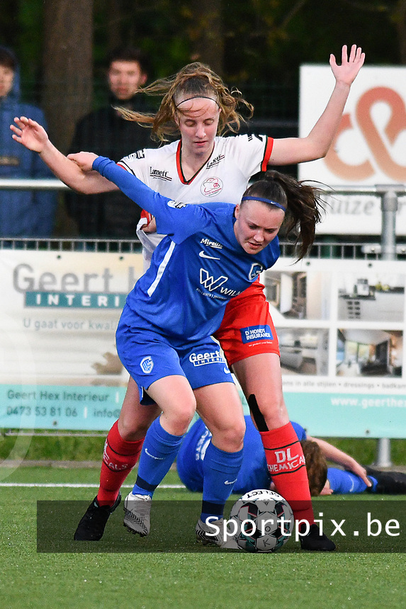 Fleur Pauwels (66) of KRC Genk and Lotte De Wilde (19) of Zulte Waregem pictured during a female soccer game between  Racing Genk Ladies and SV Zulte-Waregem on the 7 th matchday of play off 2 in the 2020 - 2021 season of Belgian Scooore Womens Super League , friday 14 th of May 2021  in Genk , Belgium . PHOTO SPORTPIX.BE   SPP   JILL DELSAUX