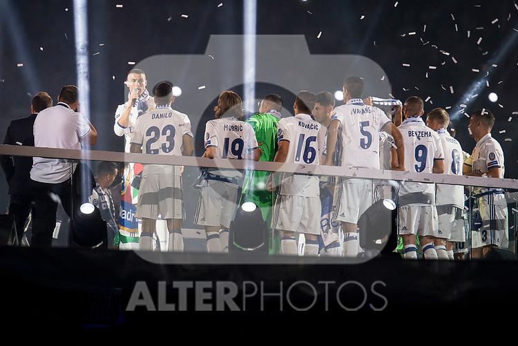 Real Madrid Cristiano Ronaldo talking during the celebration of the 13th UEFA Championship at Santiago Bernabeu Stadium in Madrid, June 04, 2017. Spain.<br /> (ALTERPHOTOS/BorjaB.Hojas)