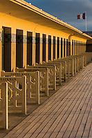 France, Calvados (14), Côte Fleurie, Deauville, la plage, la Promenade des Planches en souvenir des réalisateurs et acteurs de cinéma // France, Calvados, Cote Fleurie, Deauville, the beach, Promenade des Planches (stage walk) in honour of the cinema directors and actors