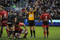 Referee John Lacey of Ireland awards a penalty during the European Rugby Champions Cup match between Bath Rugby and RC Toulon - 23/01/2016 - The Recreation Ground, Bath Mandatory Credit: Rob Munro/Stewart Communications