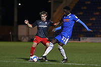 Archie Collins of Exeter City and Brendan Sarpong-Wiredu of Colchester United during Colchester United vs Exeter City, Sky Bet EFL League 2 Football at the JobServe Community Stadium on 23rd February 2021