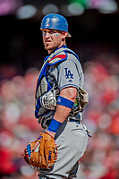 20 May 2018: Los Angeles Dodgers catcher Yasmani Grandal in action against the Washington Nationals at Nationals Park in Washington, DC. The Dodgers defeated the Nationals 7-2, sweeping their 3-game series. Mandatory Credit: Ed Wolfstein Photo *** RAW (NEF) Image File Available ***