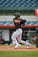 Jupiter Hammerheads James Nelson (20) hits a single during a Florida State League game against the Florida Fire Frogs on April 8, 2019 at Osceola County Stadium in Kissimmee, Florida.  Florida defeated Jupiter 7-6 in ten innings.  (Mike Janes/Four Seam Images)