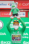 Slovenian Champion Primoz Roglic (SLO) Team Jumbo-Visma retains the points Green Jersey at the end of Stage 7 of the Vuelta Espana 2020 running 159.7km from Vitoria-Gasteiz to Villanueva de Valdegovia, Spain. 27th October 2020.  <br /> Picture: Luis Angel Gomez/PhotoSportGomez | Cyclefile<br /> <br /> All photos usage must carry mandatory copyright credit (© Cyclefile | Luis Angel Gomez/PhotoSportGomez)