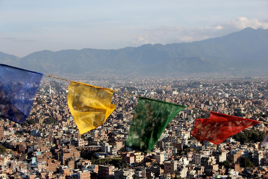 Prayer Flags and Kathmandu Rooftops from Swayambhunath, Nepal