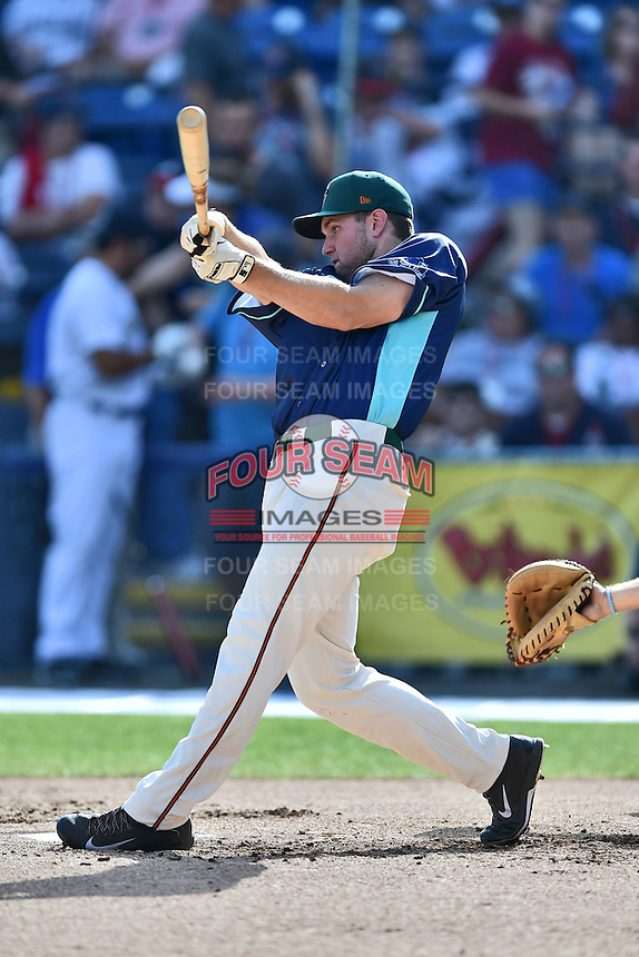 Greensboro Grasshoppers designated hitter Austen Smith (18) participates in the South Atlantic League All Star Game Home Run Derby on June 23, 2015 in Asheville, North Carolina. The North Division defeated the South 7-5(Tony Farlow/Four Seam Images)