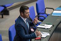 """Sitzung des Deutschen Bundestag am Donnerstag den 19. April 2018.<br /> Im Bild: Jan  Ralf Nolte, Abgeordneter der rechtsnationalistischen """"Alternative fuer Deutschland"""", AfD, nimmt Stellung zu den Vorhaltungen aus dem Plenum, er wuerde einen Rechtsextremisten als Angestellten beschaeftigten, der Aufgrund seiner rechtsextremen Umtriebe keine Sicherheitsfreigabe des Deutschen Bundestag und somit auch keine Zugangsberechtigung zum Bundestag bekommen hat.<br /> 19.1.2018, Berlin<br /> Copyright: Christian-Ditsch.de<br /> [Inhaltsveraendernde Manipulation des Fotos nur nach ausdruecklicher Genehmigung des Fotografen. Vereinbarungen ueber Abtretung von Persoenlichkeitsrechten/Model Release der abgebildeten Person/Personen liegen nicht vor. NO MODEL RELEASE! Nur fuer Redaktionelle Zwecke. Don't publish without copyright Christian-Ditsch.de, Veroeffentlichung nur mit Fotografennennung, sowie gegen Honorar, MwSt. und Beleg. Konto: I N G - D i B a, IBAN DE58500105175400192269, BIC INGDDEFFXXX, Kontakt: post@christian-ditsch.de<br /> Bei der Bearbeitung der Dateiinformationen darf die Urheberkennzeichnung in den EXIF- und  IPTC-Daten nicht entfernt werden, diese sind in digitalen Medien nach §95c UrhG rechtlich geschuetzt. Der Urhebervermerk wird gemaess §13 UrhG verlangt.]"""