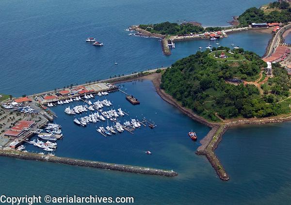 aerial photograph of the Perico Island marina, Panama Bay near Panama City Panama, Naos Island in the background