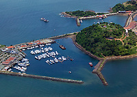aerial photograph of the Perico Island marina, Panama Bay near Panama City Panama, Naos Island in the background