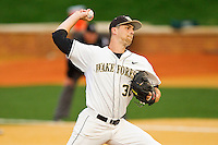 Wake Forest Demon Deacons starting pitcher Justin Van Grouw #30 in action against the Florida State Seminoles at Wake Forest Baseball Park on March 24, 2012 in Winston-Salem, North Carolina.  The Seminoles defeated the Demon Deacons 3-2.  (Brian Westerholt/Four Seam Images)