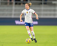ORLANDO, FL - JANUARY 22: Emily Sonnett #14 of the USWNT dribbles during a game between Colombia and USWNT at Exploria stadium on January 22, 2021 in Orlando, Florida.