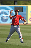 Potomac Nationals outfielder Wade Moore #7 fielding before a game against the Myrtle Beach Pelicans at Tickerreturn.com Field at Pelicans Ballpark on April 11, 2012 in Myrtle Beach, South Carolina. Potomac defeated Myrtle Beach by the score of 6-3. (Robert Gurganus/Four Seam Images)