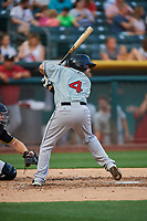 Raffy Lopez (4) of the El Paso Chihuahuas bats against the Salt Lake Bees at Smith's Ballpark on August 13, 2018 in Salt Lake City, Utah. Salt Lake defeated El Paso 4-3. (Stephen Smith/Four Seam Images)