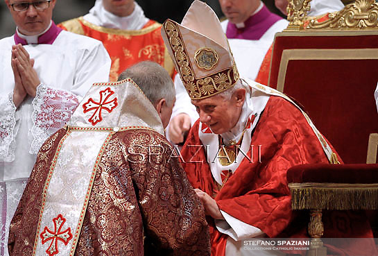 US Arcibishop of Pittsburgh of Byzantine, William Charles Skurla (R) receives the Pallium from Pope Benedict XVI on June 29, 2012 during the feast of Saint Peter and Saint Paul at the Vatican. The Pallium is an ecclesiastical vestment bestowed upon Metropolitan Bishops to symbolise their authority as vested in them by the Vatican state.