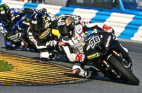 Jake Zemke (98)leads a pack of motorcycles during the Daytona 200 motorcycle race at Daytona International Speedway, Daytona Beach, FL, March 2011.(Photo by Brian Cleary/www.bcpix.com)