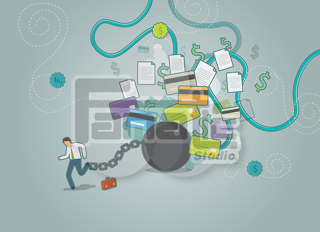 Illustrative shot of businessman tied up to a ball and chain trying to run away from his dues