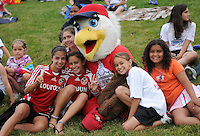 Washington Freedom mascot Liberty joins some Freedom fans. The Los Angeles Sol defeated the Washington Freedom 1-0 at the Maryland SoccerPlex in Boyds, MD on Sunday July 5, 2009.