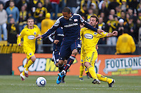 8 MAY 2010:  New England Revolutions' Khano Smith (7) and Adam Moffat of the Columbus Crew (22) during MLS soccer game between New England Revolution vs Columbus Crew at Crew Stadium in Columbus, Ohio on May 8, 2010. The Columbus defeated New England 3-2.