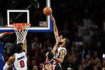 Detroit Pistons forward Marcus Morris (13) tips in the game winning basket in the fourth quarter against the Washington Wizards, Saturday, Jan. 21, 2017, in Auburn Hills, Mich.  The Pistons defeated the Wizards 113-112.  (Special to The Oakland Press/Jose Juarez)